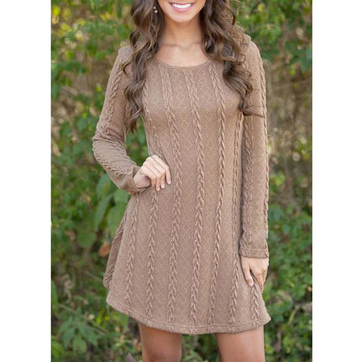 Plus Size Women Winter Autumn Jumper Thin Casual Knitted Sweater Mini Dress Pullovers