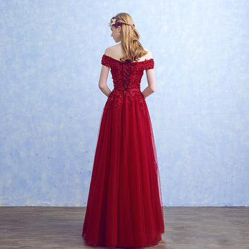 New Red Lace Evening Bride Gown Off-the-Shoulder Lace Formal Dress