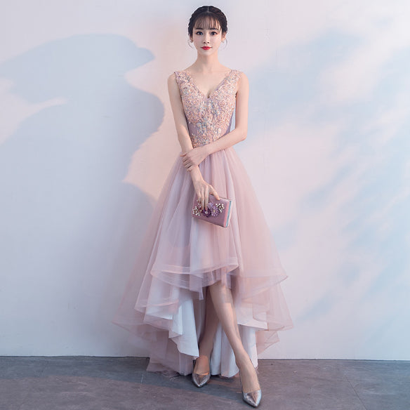 dfa00df49112 Sweet High Low V-Neck A-Line Pink Tulle Lace Party Dress Prom Gown ...