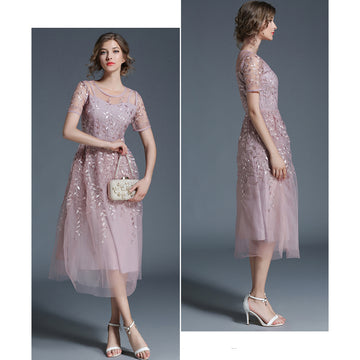 2018 Fashion Embroidery Short Sleeve Tea-Length Slim Formal Dress
