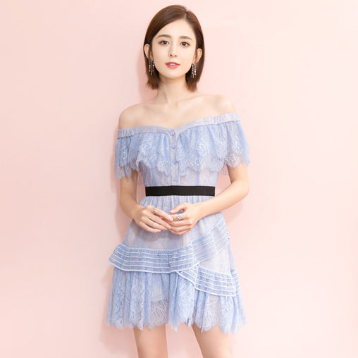 Blue Lace Off-the-Shoulder Sweet Summer Dress With Buttons