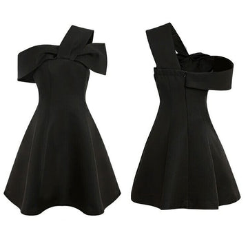 Fashion Black One Shoulder A-line Elegant Little Black Dresses
