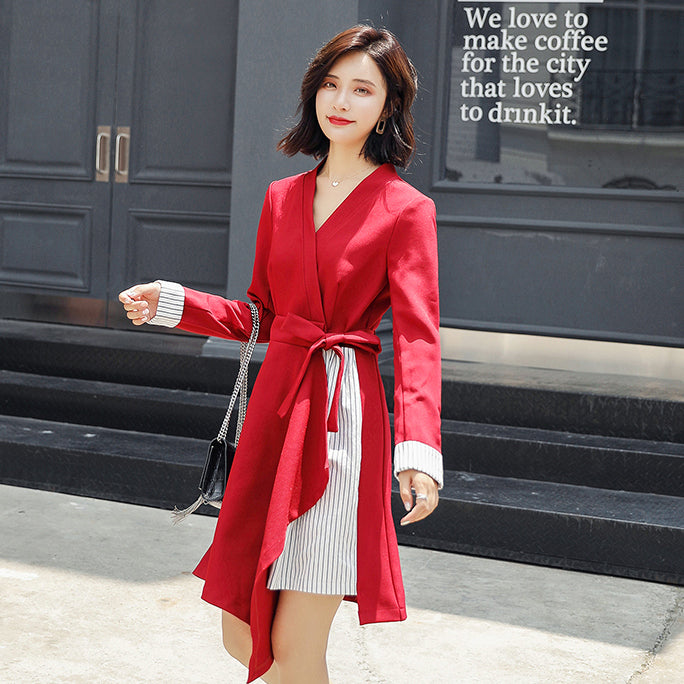 Official Woman's Red Wrap Belt Patchwork Long Sleeve Short Dresses