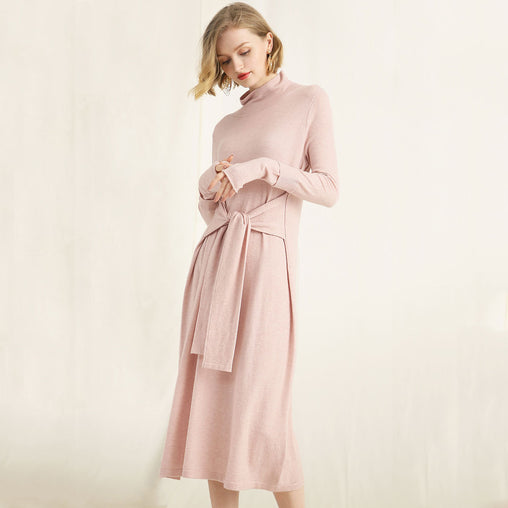 Autumn Spring Long Sleeve Slim Tea-Length Knit Wool Dresses With Belt