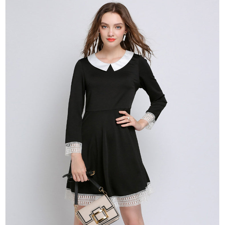 Plus Size Peter Pan Collar Short Lace Patchwork Little Black Dresses ...