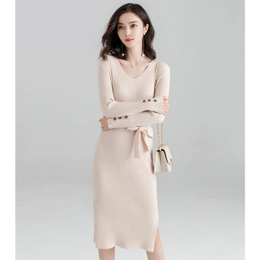 Autumn Spring Warm Long Sleeve Tea-Length Woman's Slim Knit Dresses