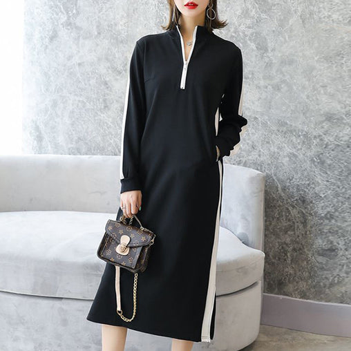 Autumn High Neck Cool Black Plus Size Long Sleeve Tea-Length Loose Dresses