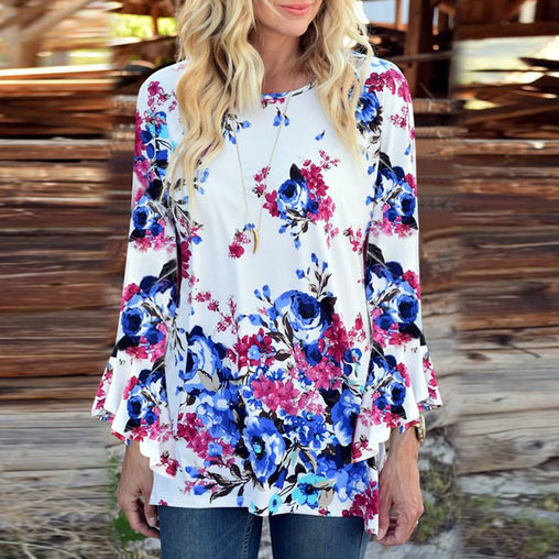 Woman's Autumn Floral Printing Bell Sleeve Loose Blouse