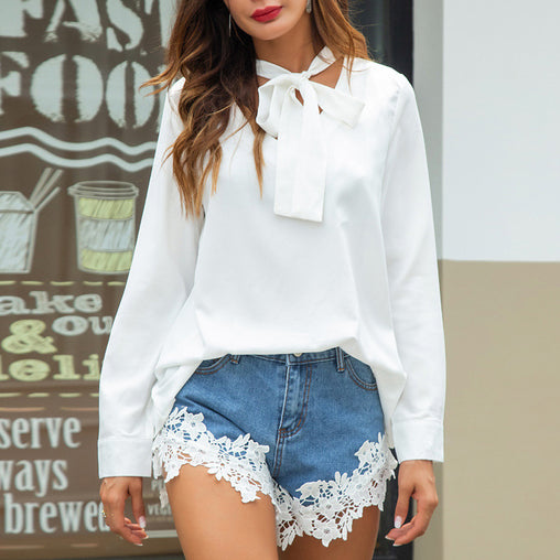Autumn White Long Sleeve Bow Tie V-neck Basic Blouses