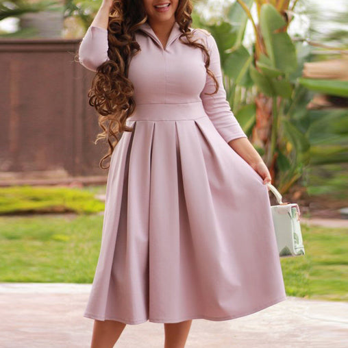 Autumn Pink Seven-Quater Sleeve Tea-length Dresses