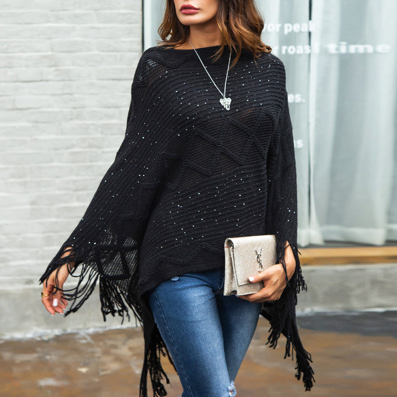 2018 Fashion Woman's Autumn Knit Jumpers Fringe Cape Loose Knitwears