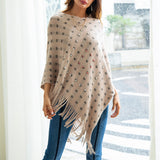 Woman Knitting Sweaters Autumn Fringe Geometry Beading Jumper Capes