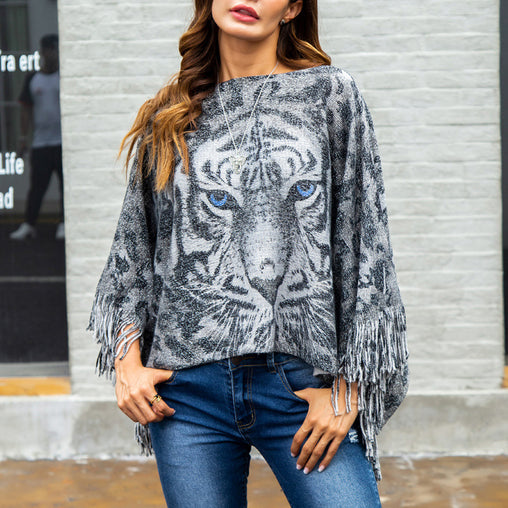 Woman Tiger Printed Autumn Fringe Knitting Jumper Capes