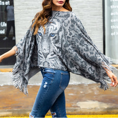2018 Woman Tiger Printed Autumn Fringe Knitting Jumper Capes