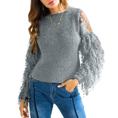 Autumn Black Sweat Fringe Lace Patchwork Jumpers Sweaters