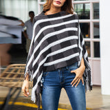 Woman's Autumn Geometry Fringe V-neck Cape Jumper Sweaters