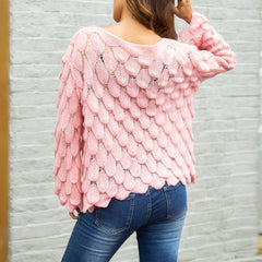 2018 Woman's Autumn Feather Knitting Sweaters Bell Sleeve Pullovers