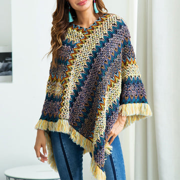 Multi-Way Wearing Fringe Knitting Sweaters Bohemia Jumpers Capes