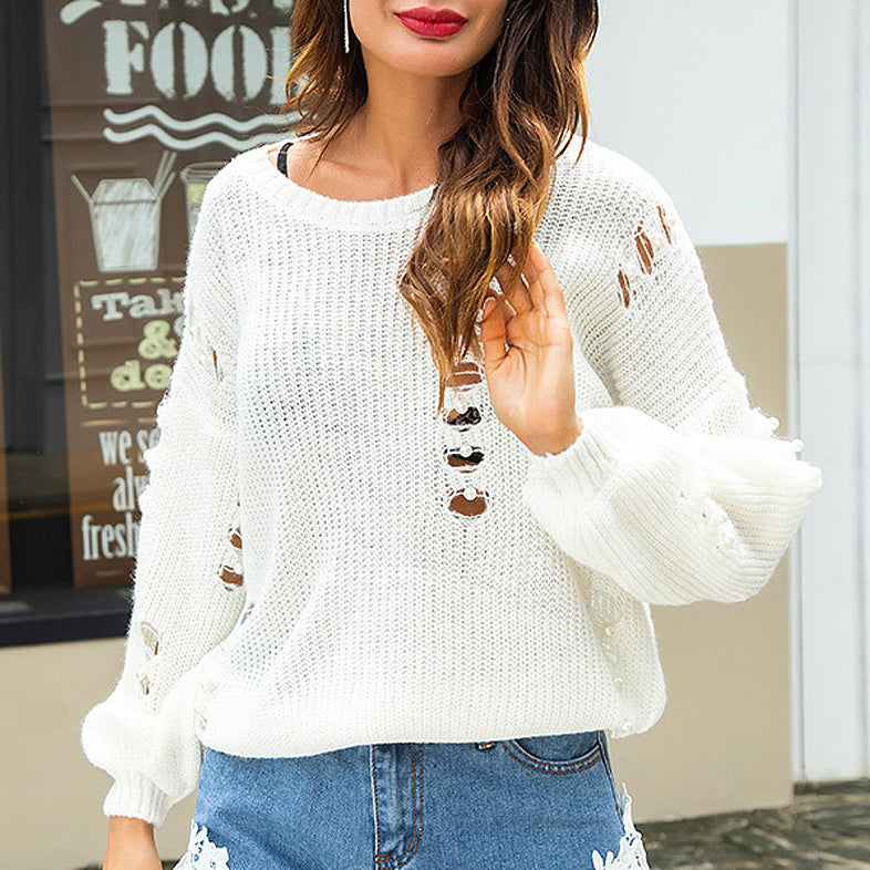 2018 Fashion Lazy Style Cutouts Autumn Jumpers With Pearls Sweaters