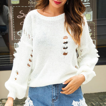 Fashion Lazy Style Cutouts Autumn Jumpers With Pearls Sweaters