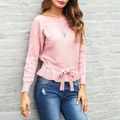 Pink Boat Neck Stripes Jumpers Long Sleeve Autumn Sweaters With Belt