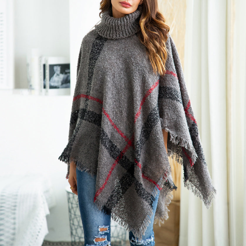 2018 High Neck Irregular Hem Stripes Jumpers Cape Knitting Sweaters