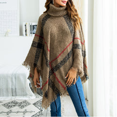High Neck Irregular Hem Stripes Jumpers Cape Knitting Sweaters