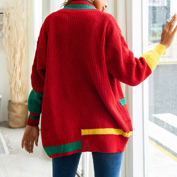 Knitting Sweaters 2018 Woman's Red Mid-Length Cardigans With Pockets