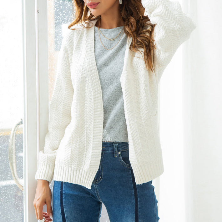Autumn Simple White Woman's Sweaters Long Sleeve Cardigans