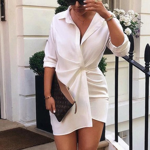 2018 Autumn Fashion White Pleated With Button T-shirt Long Dress