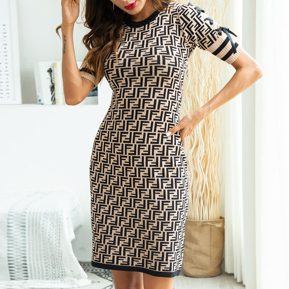 2018 Autumn Woman's F Pattern Lace Up Tight Slim Knitting Dresses