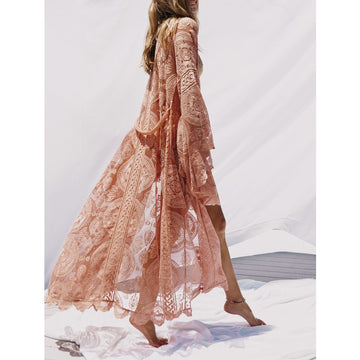 2018 Pink Summer Long Lace Bell Sleeve Ankle-length Beach Cardigans