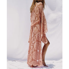 Pink Summer Long Lace Bell Sleeve Ankle-length Beach Cardigans