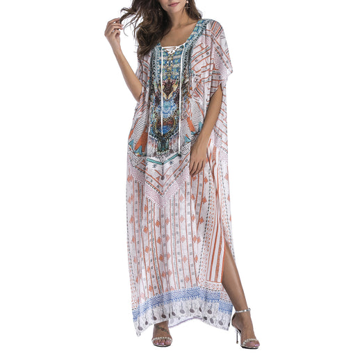 Woman's Ankle-Length Beach Covers Up V-neck Split Summer Maxi Dresses