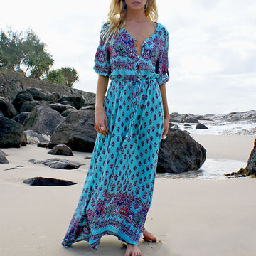 Autumn Spring Sexy V-neck Half Sleeves High Split Boho Dress
