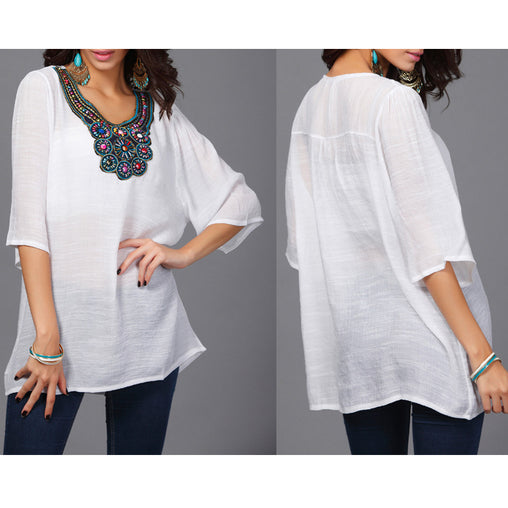 Summer Woman's Half Sleeve Bohemia Beading Plus Size Blouses