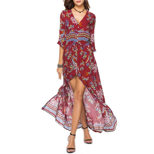 Elastic Belt Beach Sexy V-neck High Split Floral Printed Dresses