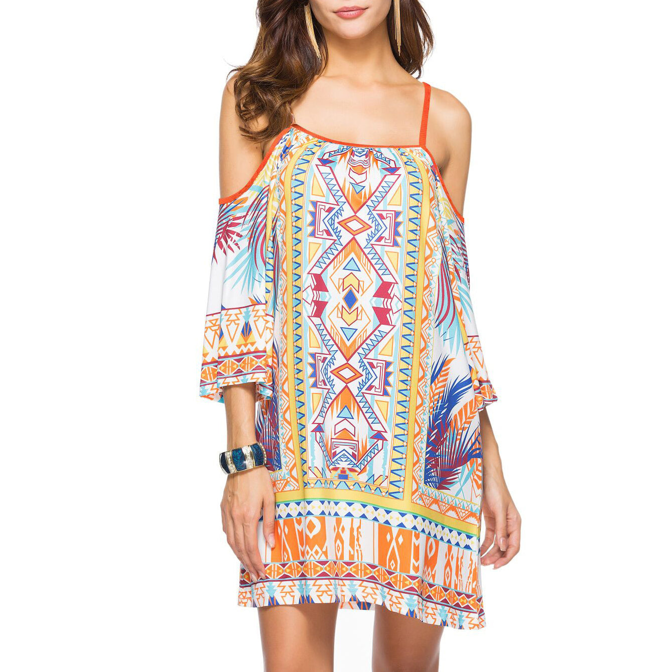 Bohemian Printing Summer Cold Shoulder Short Dresses