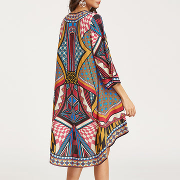 New 2018 Sexy Summer Beach Geometry Printing Long Covers-Up