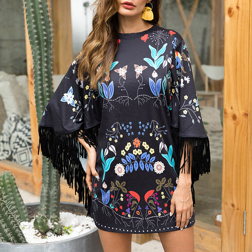 Autumn New Style Fashion Fringe Cape Floral Printed Short Spring Dresses