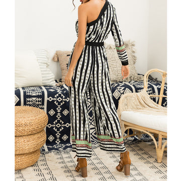 Autumn Sexy One Shoulder Empire Waist Loose Pants Jumpsuits