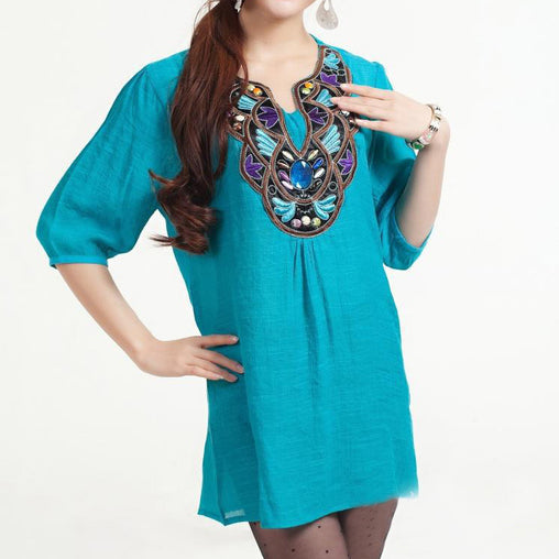 Autumn Seven-Quaters Sleeves Woman's Embroidery Blouses With Beads