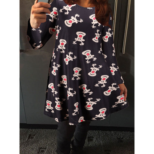 New Christmas Festival Deers Printed Woman's Short Dresses