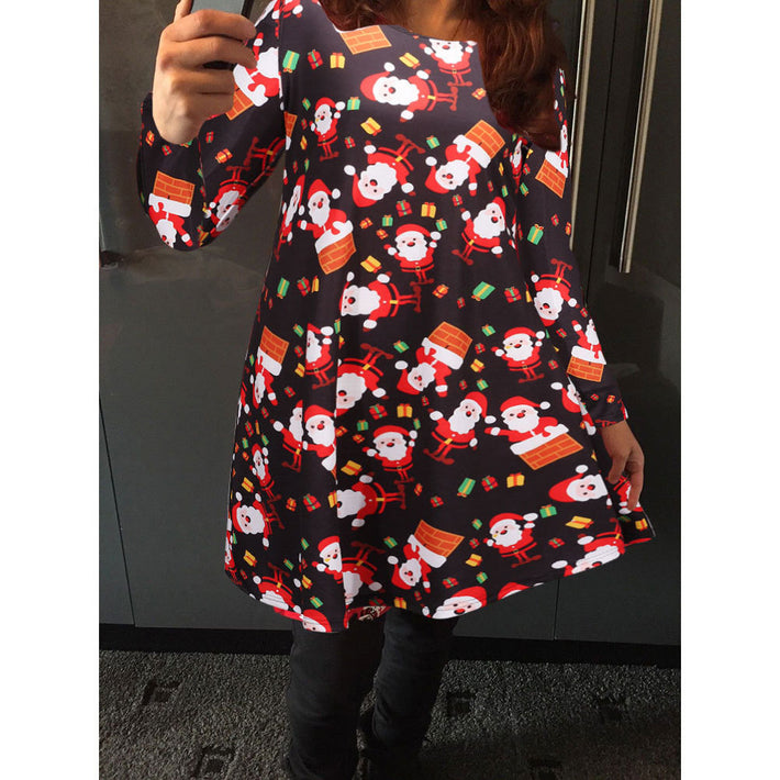 2018 New Christmas Festival Santa Claus Printed Woman's Short Dresses