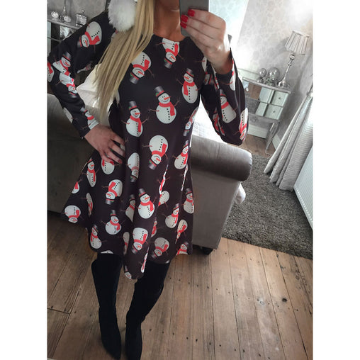 New Christmas Festival 2018 Snowmen Printed Woman's Short Dresses