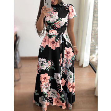 Beautiful Floral Printing High Neck Floor-Length Summer Dresses