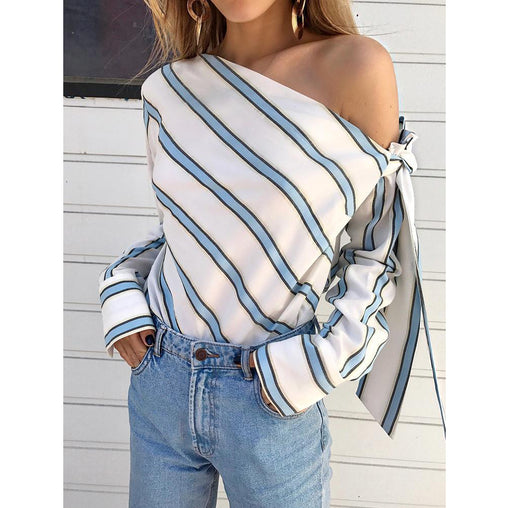 2018 Fashion Pink One Shoulder With Bowknot Striped Woman's Blouses