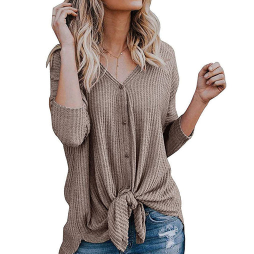 Autumn Spring Fashion V-neck Button Knot Basic Woman's Blouses
