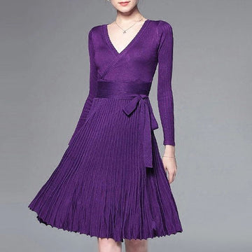 2018 Autumn Warm New Wrap With Belt Pleated Knee-Length Knitting Dresses