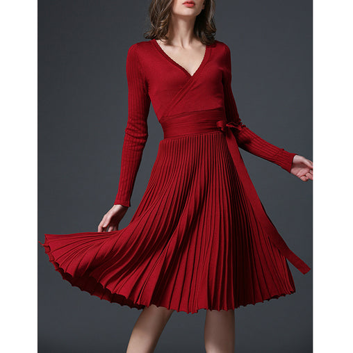 Autumn Warm New Wrap With Belt Pleated Knee-Length Knitting Dresses